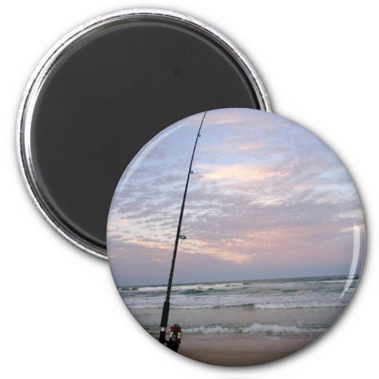 Beach Fishing at Sunset Magnet