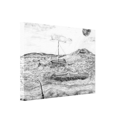 Beach Fishing, Fine Art Pencil Drawing Gray scale Canvas Prints