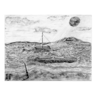 Beach Fishing, Fine Art Pencil Drawing Gray scale Postcard