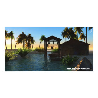 Beach Fishing Hut Sunset Photo Card