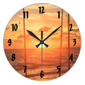 Beach Fishing Large Clock