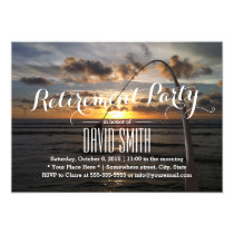 Beach Fishing Retirement Party Card