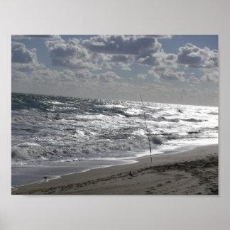 Beach Fishing Seashore Poster