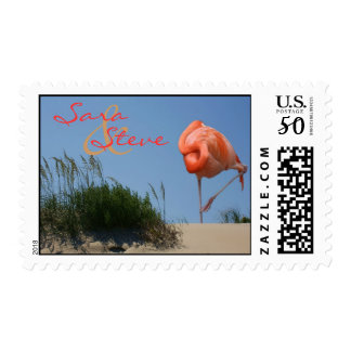 Beach Flamingo Customizable Bride & Groom Stamps