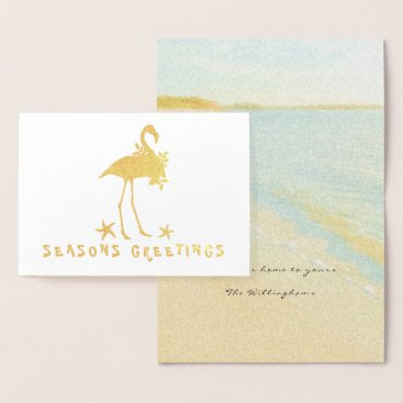 Beach Themed Beach Flamingo Gold Foil Christmas Cards