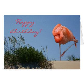 Beach Flamingo Happy Birthday Card