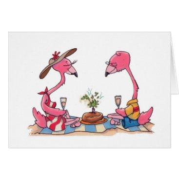 Beach Themed Beach Flamingo Picnic Notecard