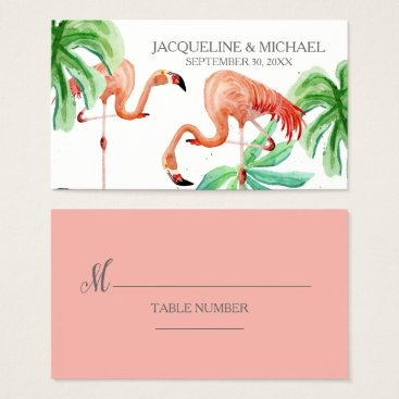 Beach Themed Beach Flamingo Tropical Leaf Escort Table Seating Business Card