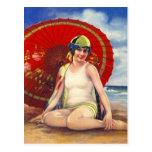Beach Flapper Girl Postcard Asian Umbrella Cloche