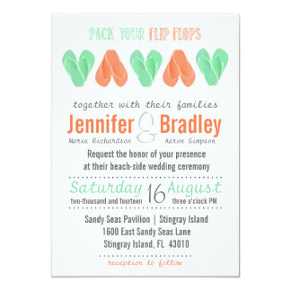 Beach Flip Flop Hearts Turquoise and Coral Wedding 5x7 Paper Invitation Card