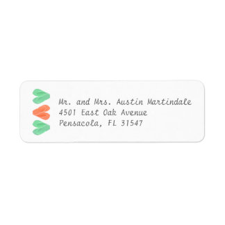 Beach Flip Flop Hearts Turquoise Coral Label Return Address Label