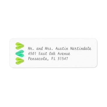 Beach Themed Beach Flip Flop Hearts Turquoise Lime Green Label