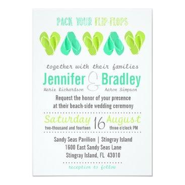 Beach Themed Beach Flip Flop Hearts Wedding Invitation Teal