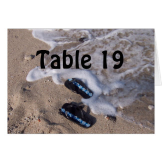 Beach Flip Flop Sandals Table Number Card Card