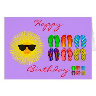 Beach Flip Flops and Sun with Sunglasses Birthday Card
