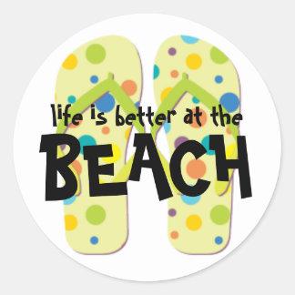 Beach Flip Flops Classic Round Sticker