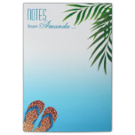 beach flip flops, personalized note pad notepad,