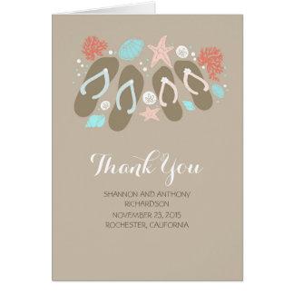 beach flip flops romantic wedding thank you card