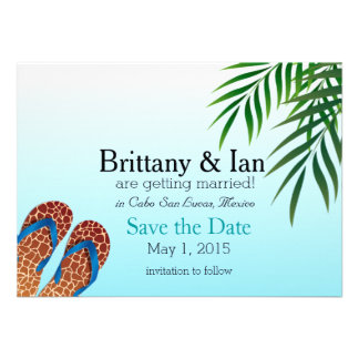 Beach Flip Flops Save the Date Personalized Announcement