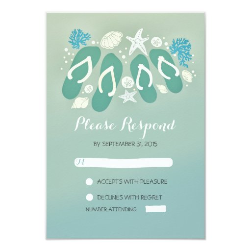 beach flip flops sea glass colors wedding rsvp 35x5 paper