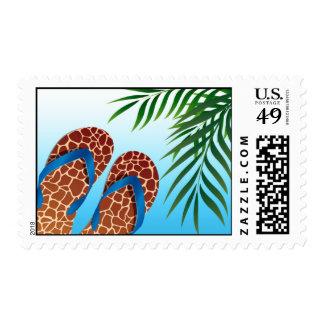 Beach Flip Flops Tropical Destination Wedding Postage Stamps