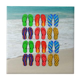 Beach Flip-Flops, Vacation Fun Ceramic Tile