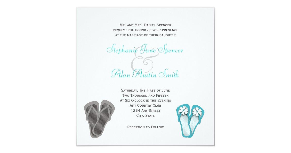 Beach Flip Flops Wedding Invitation Zazzle