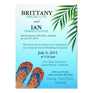 Beach Flip Flops Wedding Reception Card
