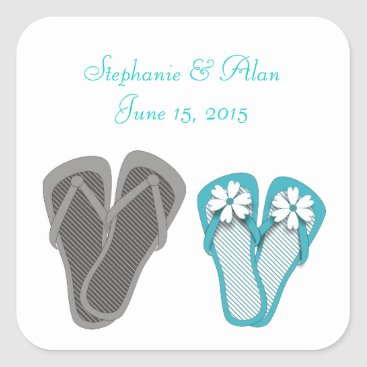 Beach Themed Beach Flip Flops Wedding Stickers