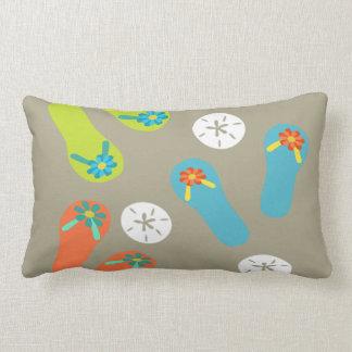Beach flipflops art and sand dollar summer lumbar pillow
