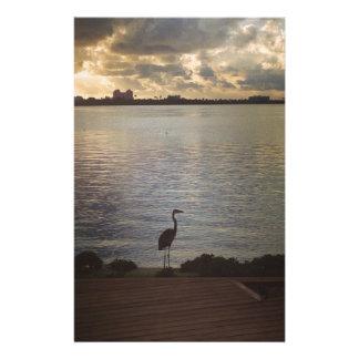 Beach Florida Sunset with Egret Stationery