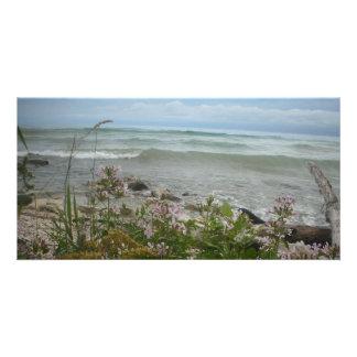 Beach Flowers 2 Customized Photo Card