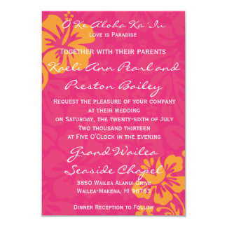 Beach Flowers - Azalea/Orange 3.5x5 Paper Invitation Card