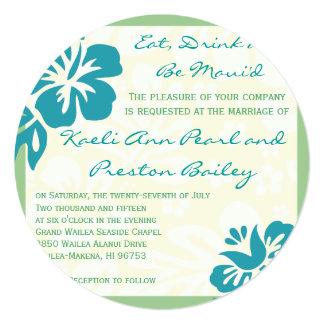 "Beach Flowers Blue Green Wedding Invitation 5.25"" Square Invitation Card"
