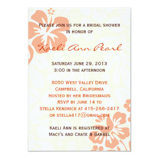 Beach Flowers Bridal Shower - Coral 5x7 Paper Invitation Card