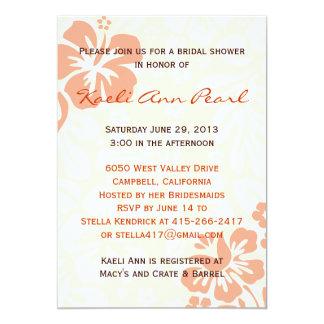 Beach Flowers Bridal Shower - Coral Card