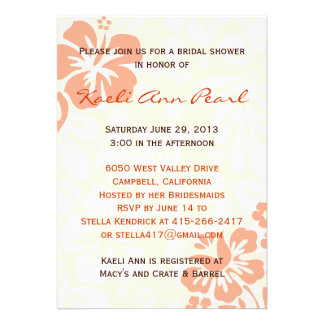 Beach Flowers Bridal Shower - Coral Invites