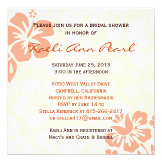 Beach Flowers Bridal Shower - Coral Invite