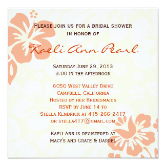 Beach Flowers Bridal Shower - Coral Invitation