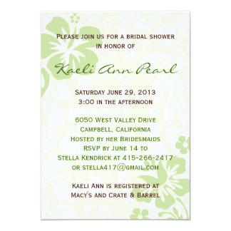 Beach Flowers Bridal Shower - Green 5x7 Paper Invitation Card