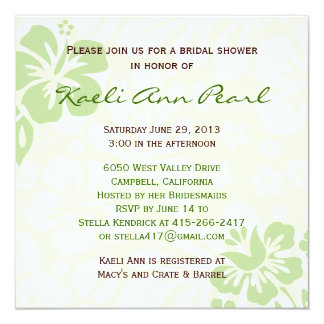 Beach Flowers Bridal Shower - Green Invitation
