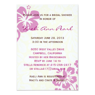 Beach Flowers Bridal Shower - Lilac 5x7 Paper Invitation Card