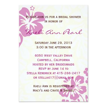 Beach Themed Beach Flowers Bridal Shower - Lilac Card