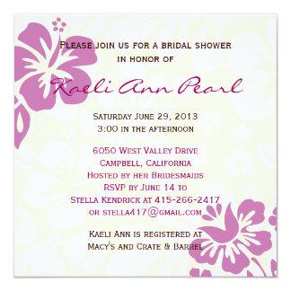 Beach Flowers Bridal Shower - Purple Invitation