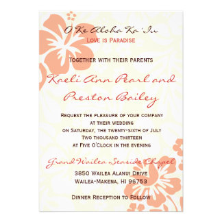 Beach Flowers - Coral (5x7) Personalized Invites