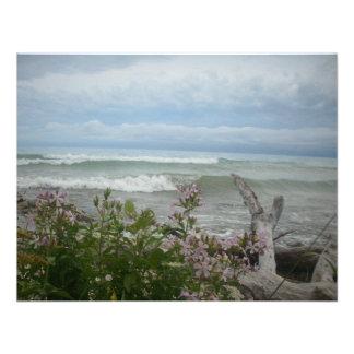 Beach Flowers Custom Invitation