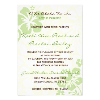 Beach Flowers - Green 5x7 Personalized Invitation