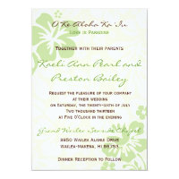 Beach Flowers - Green (5x7) Invitation