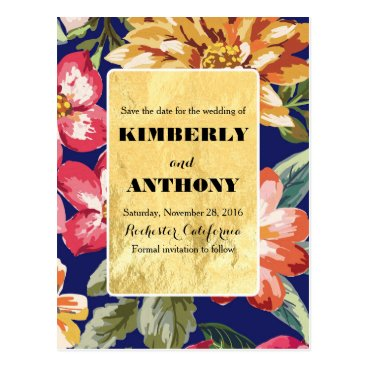 Beach Themed beach flowers navy and gold save the date postcard