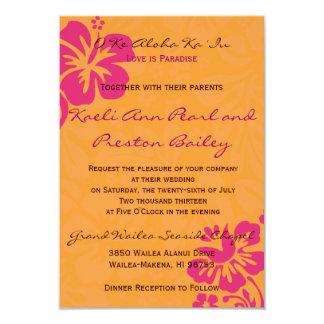 Beach Flowers - Orange/Fuschia (5x7) 3.5x5 Paper Invitation Card